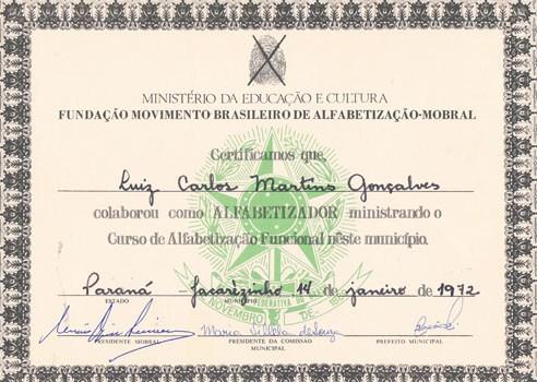 1972 - Diploma Mobral